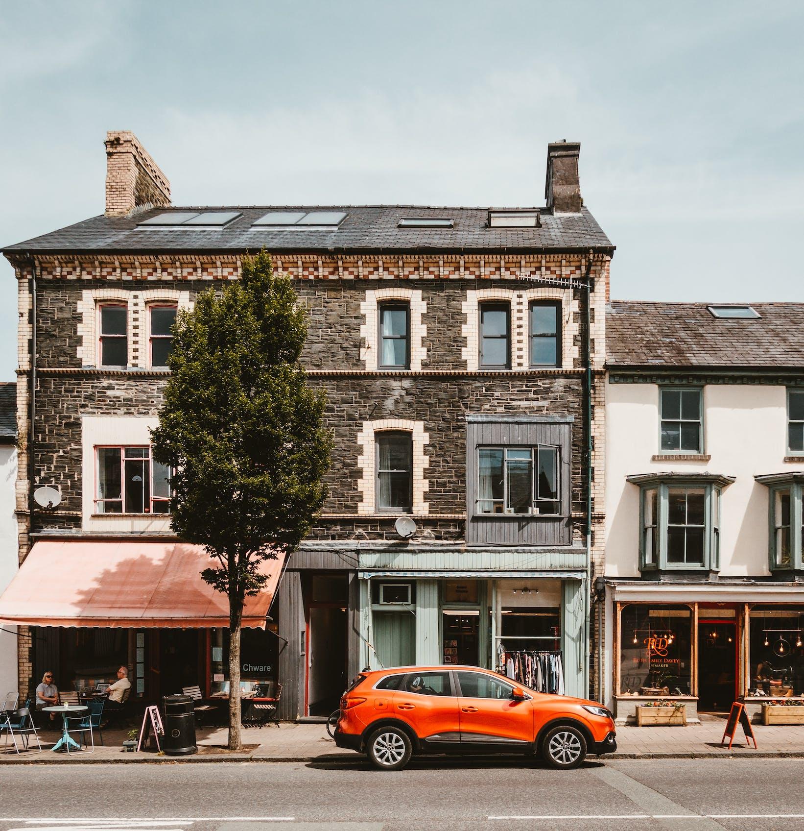 Orange car in town