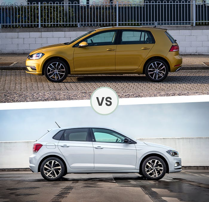 VW Golf and VW Polo side by side