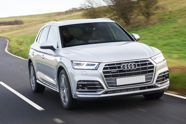 The front exterior of a silver Audi Q5