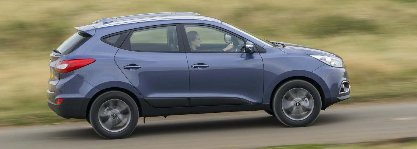 The exterior of a blue Hyundai ix35
