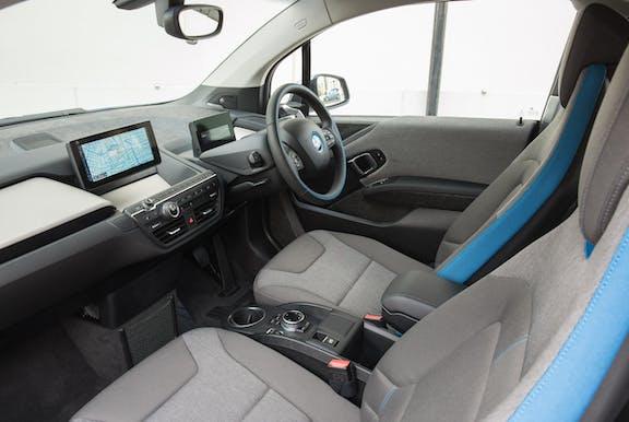 Interior shot of the BMW i3