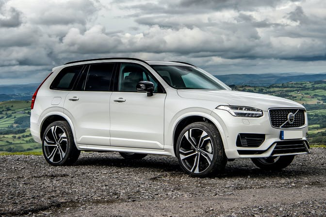 The exterior of a white Volvo XC90