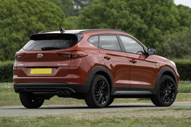 The exterior of a red Hyundai Tucson