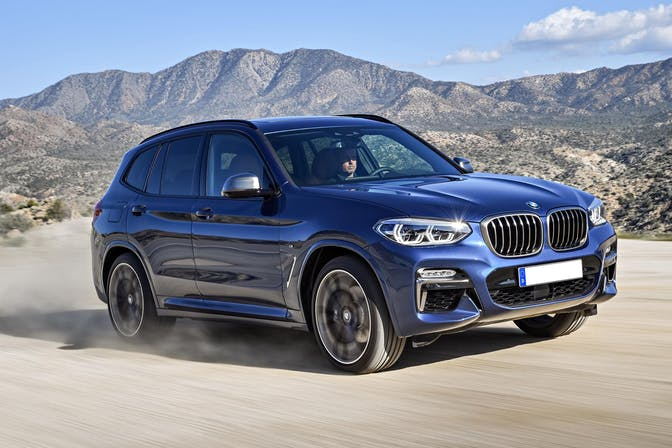The exterior of a blue BMW X3