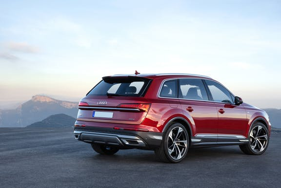 The rear exterior of a red Audi Q7