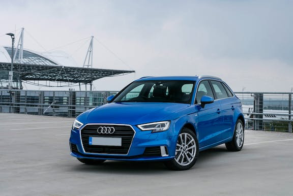 The exterior of a blue Audi A3