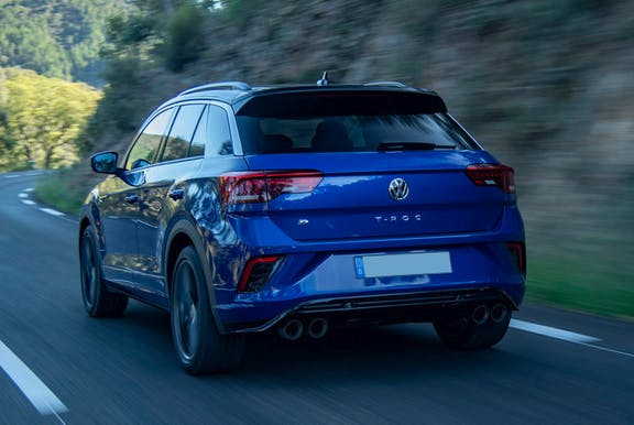 The rear exterior of a blue Volkswagen T-Roc
