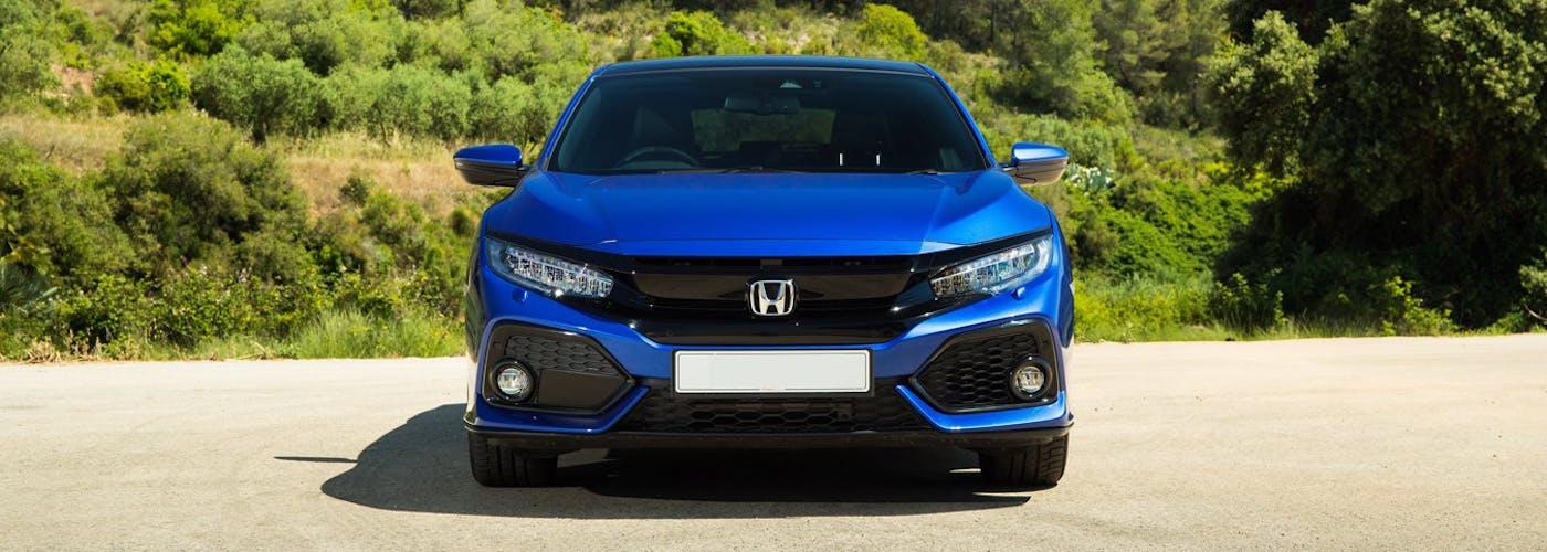 The exterior of a blue Honda Civic