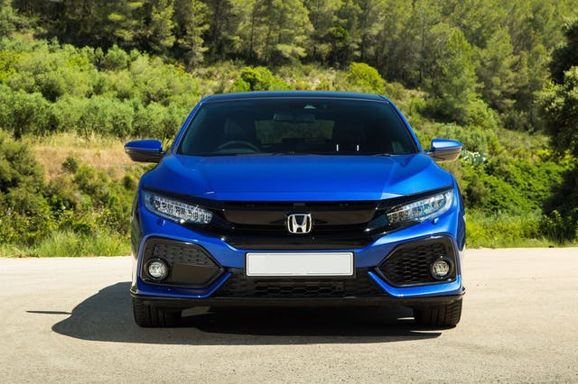 The exterior of a blue Honda Civic