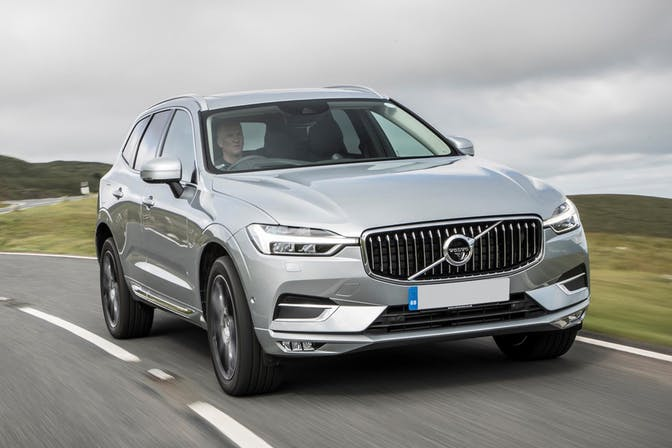 The exterior of a silver Volvo XC60