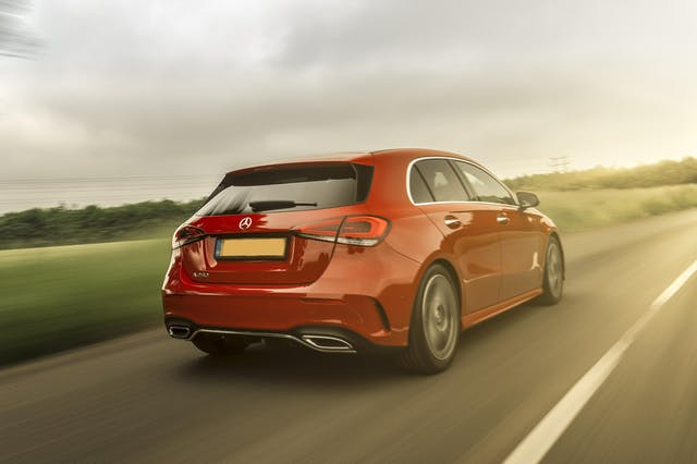 The exterior of a red Mercedes A Class