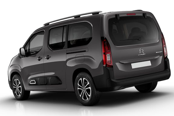 The rear exterior of a black Citroen Berlingo