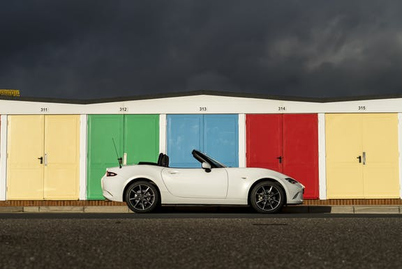 The side exterior of a Mazda MX-5