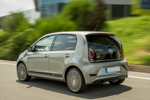 The rear exterior of a silver Volkswagen up!