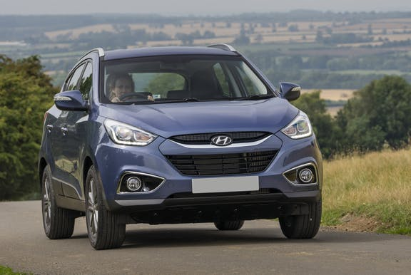 The exterior of a blue Hyundai ix35