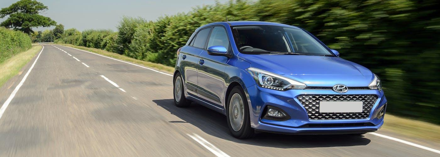 The exterior of a blue Hyundai i20