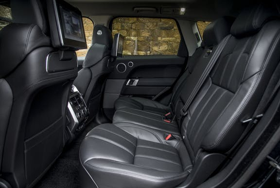 Rear seat shot of the Range Rover sport