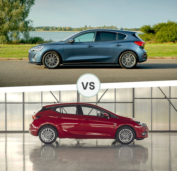 Ford Focus and Vauxhall Astra side exterior shot