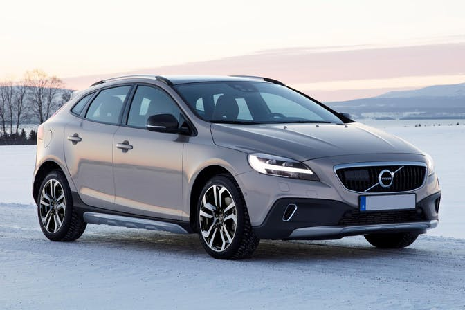 The exterior of a white Volvo V40