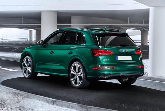 The rear exterior of a green Audi Q5