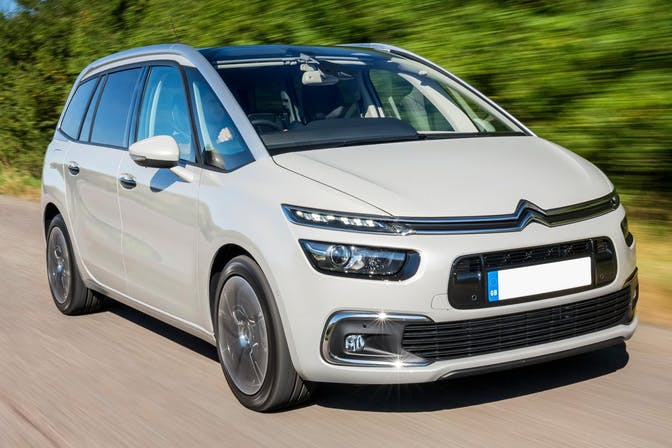 The exterior of a white Citroen Grand C4 Picasso