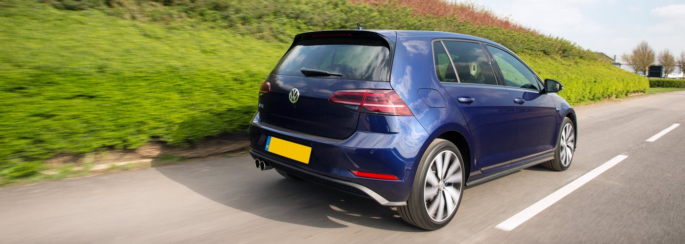 The rear exterior of a blue Volkswagen Golf