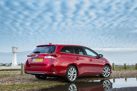 The rear exterior of a Toyota Auris
