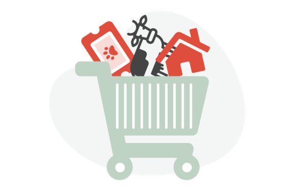 Shopping cart with a cow, house and ticket