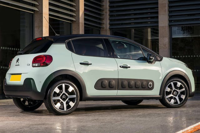 The side exterior of a blue Citroen C3