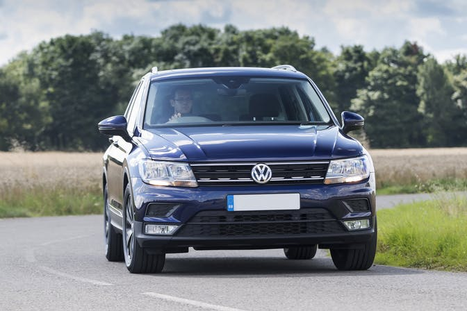 The exterior of a blue Volkswagen Tiguan