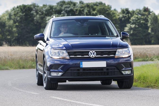 The exterior of a blue Volkswagen Tiguan