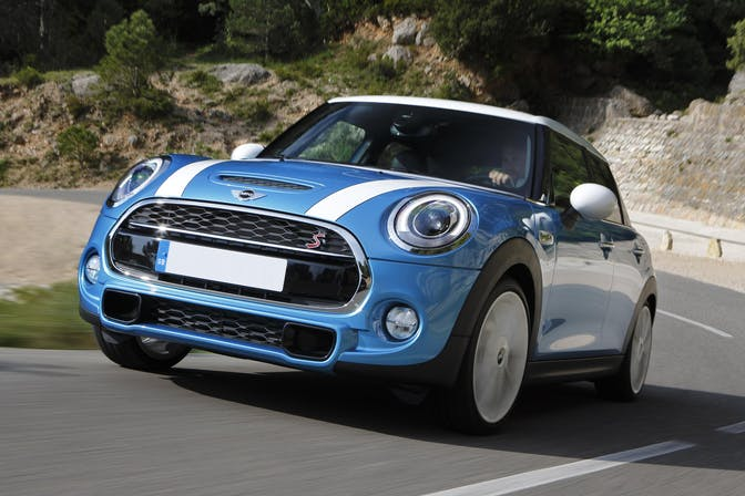 The exterior of a blue Mini Hatchback