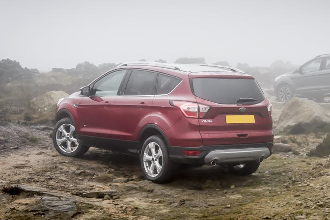 The exterior of a red Ford Kuga