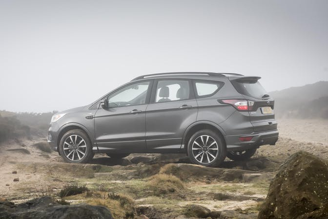 The exterior of a grey Ford Kuga
