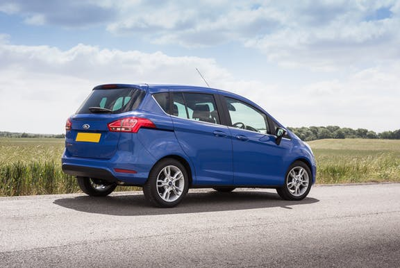 The rear exterior of a blue Ford B-Max