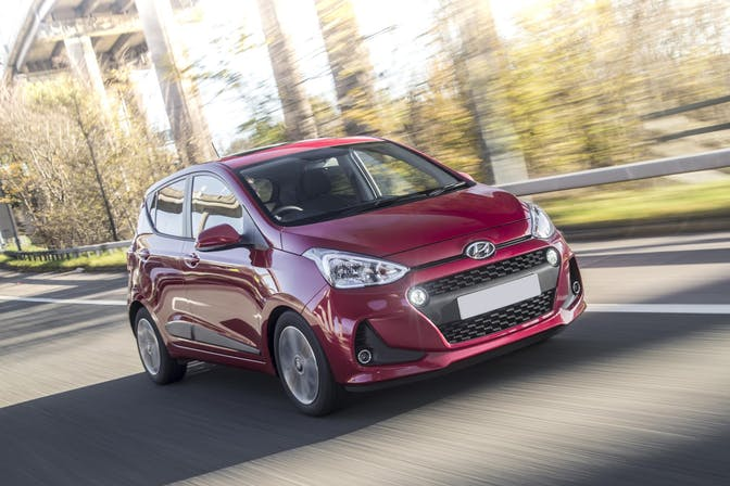 The exterior of a red Hyundai i10