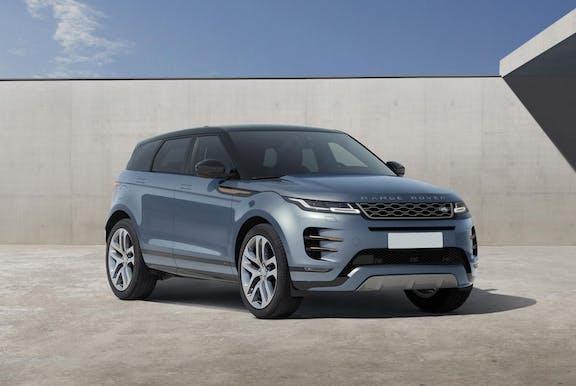 The front exterior of a blue Range Rover Evoque