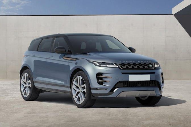 The front exterior of a blue Land Rover Range Rover Evoque