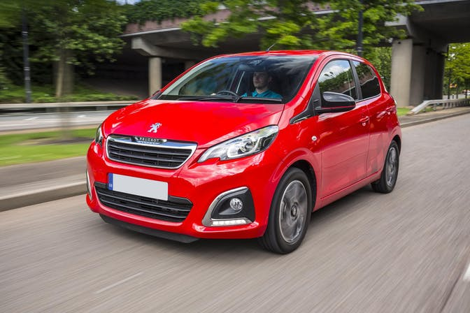 The exterior of a red Peugeot 108
