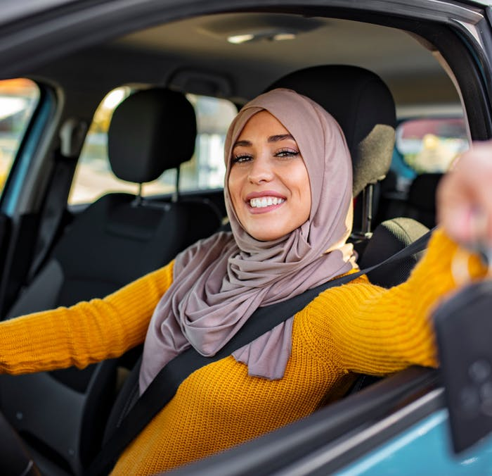 A woman with her car keys