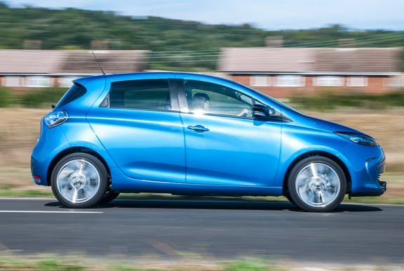 The side exterior of a blue Renault Zoe