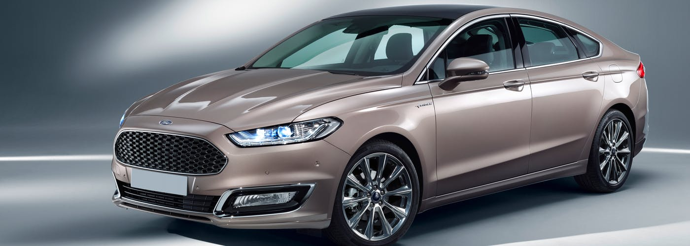 The exterior of a gold Ford Mondeo