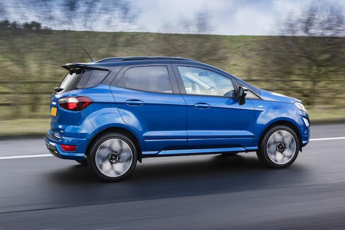 The side exterior of a blue Ford Ecosport