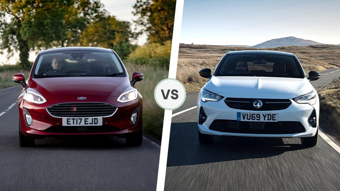 Ford Fiesta vs Vauxhall Corsa front