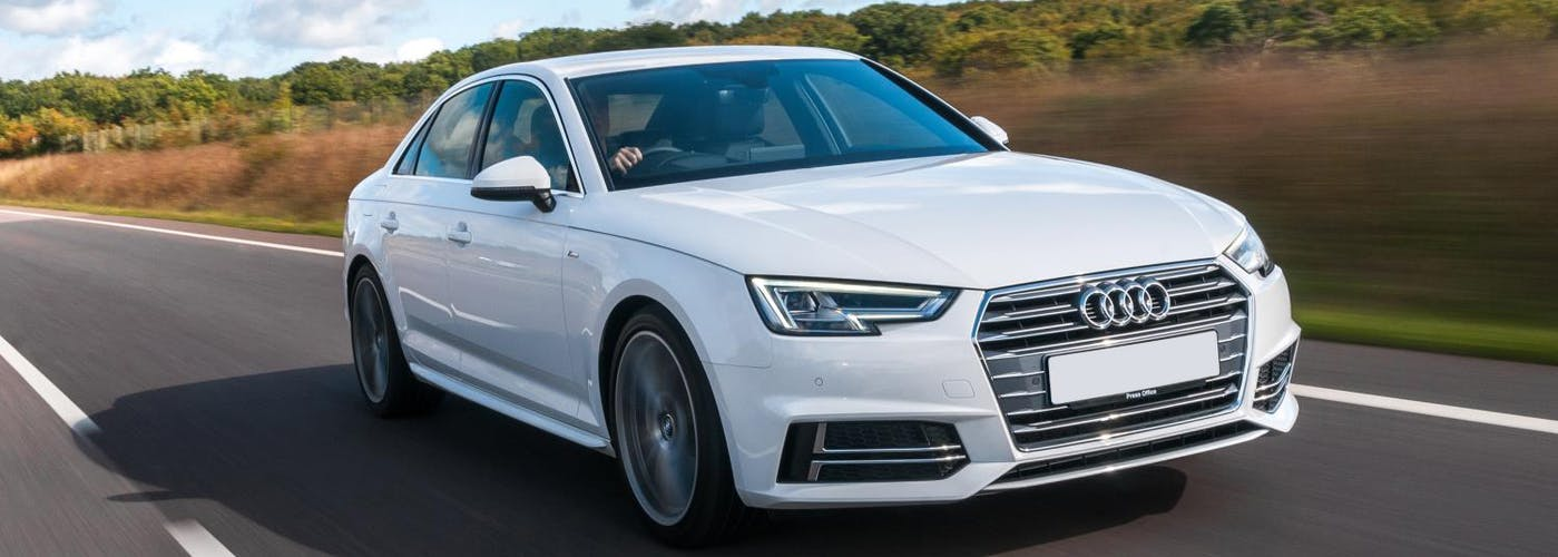 The exterior of a white Audi A4