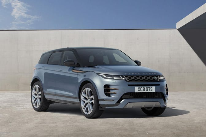 The exterior of a blue Range Rover Evoque