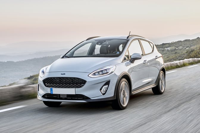 The exterior of a white Ford Fiesta