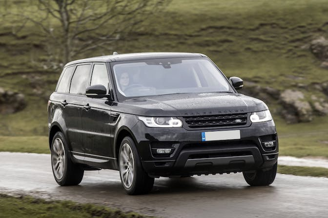 The front exterior of a black Land Rover Range Rover Sport