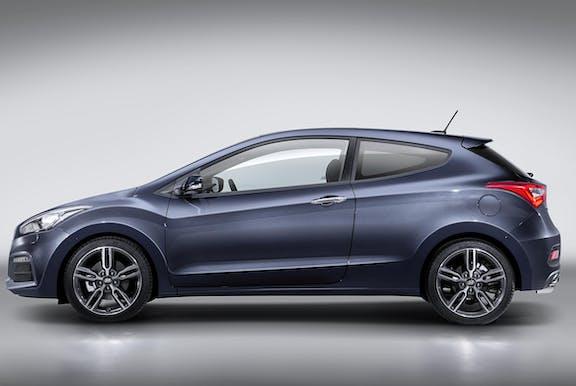 The exterior of a blue Hyundai i30