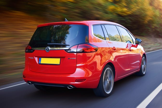 The exterior of a redVauxhall Zafira